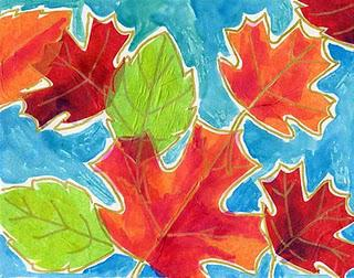 Tissue Paper + Watercolor Fall Leaves