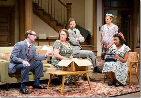 (left to right) Cliff Chamberlain, Kirsten Fitzgerald, Brendan Marshall-Rashid, Stephanie Childers and Karen Aldridge in Steppenwolf Theatre Company's production of Clybourne Park by Bruce Norris, directed by ensemble member Amy Morton.  Photo by Michael Brosilow.