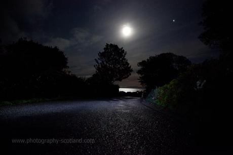Landscape photo - moon rising over the Brae at Scalasaig, on the island of Colonsay, Scotland