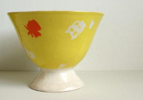 yellow ceramic fruit bowl etsy