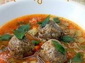 Barley, Mushroom Chicken Meatballs Spicy Tomato Broth