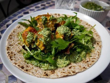 Salmon Tikka Chapati with Mint and Coriander Raita