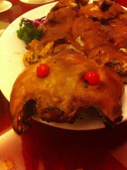 Main course at a wedding in Guangdong - roast piglet.