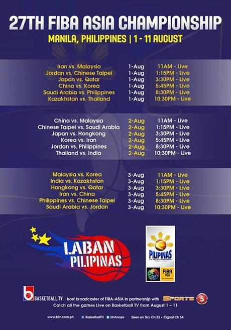 Telecast Schedule for the FIBA-Asia Championship