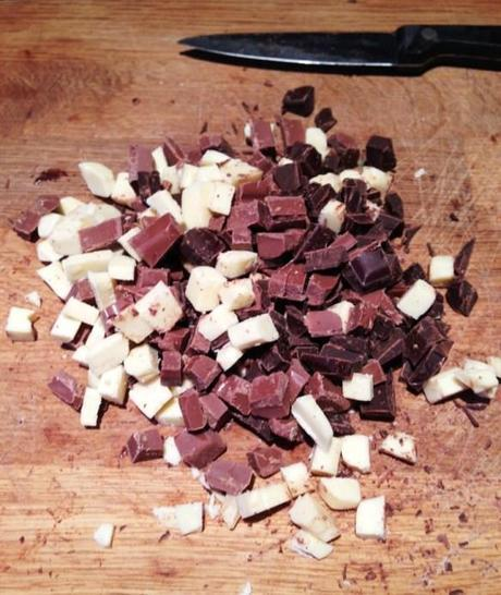 chopped chunks of triple chocolate for cookie recipe white milk and dark