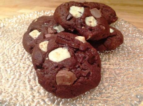 quadruple chocolate cookies freshly baked white milk and dark