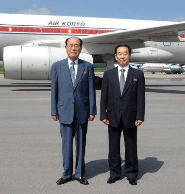 SPA Presidium President Kim Yong Nam (L) and Vice Minister of Foreign Affairs Pak Kil-yo'n at Pyongyang Airport on 1  August prior to departing for Tehran (Photo: Rodong Sinmun).