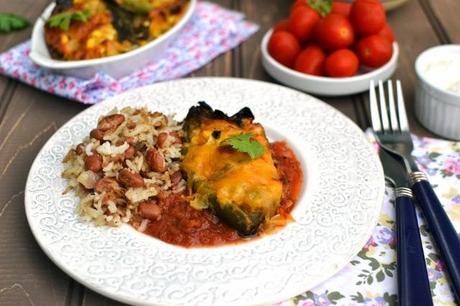 Baked Vegetarian Chili Rellenos (Low fat)