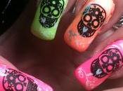 Neon Sugar Skulls Mani