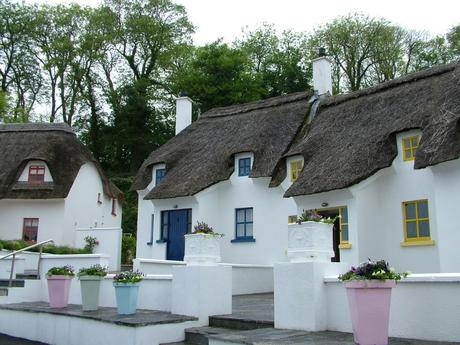 thatched cottages at dunmore east in county waterford - ireland