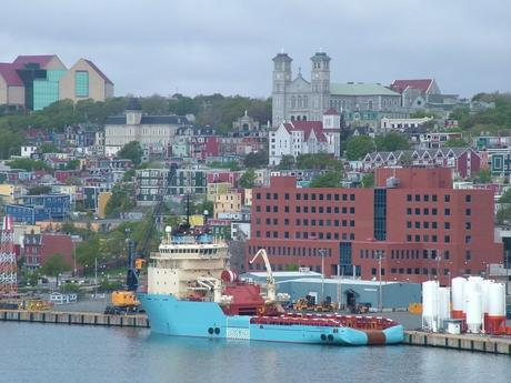 colorful St John's harbor and homes in Newfoundland - Canada