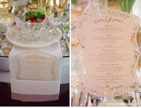 rose_gold_pink_romantic_wedding_roses_invitations_ceci_johnson_v152_om_3c, wedding menu,  block font combined with script belluccia font, Lettering Art Studio, Debi Sementelli