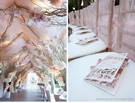 rose_gold_pink_romantic_wedding_roses_invitations_ceci_johnson_v152_om_2e, wedding program,  block font with script belluccia font, Lettering Art Studio, Debi Sementelli