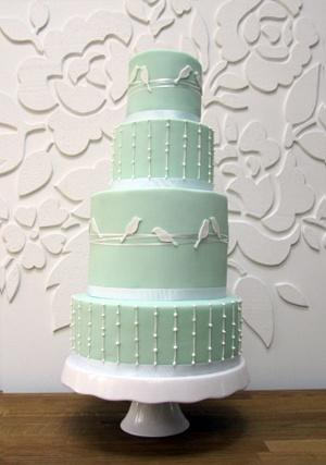 Mint Green Bird Silhouette Wedding Cake