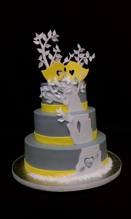 Yellow and Gray Love Bird Wedding Cake