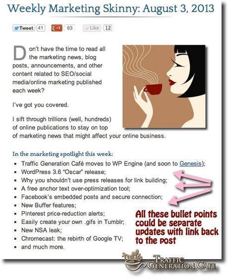 promote your blog through separate updates