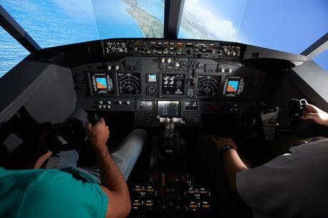 jet flight simulator flying a full size replica of a. Black Bedroom Furniture Sets. Home Design Ideas