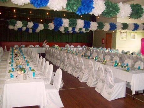 cassiefairy's blog wedding decor blue and green theme with tissue paper pompoms