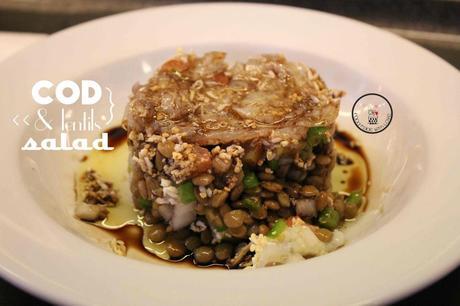 Cod and lentils salad