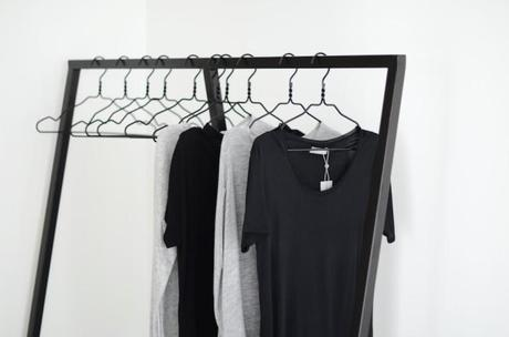 black and white clothing rack