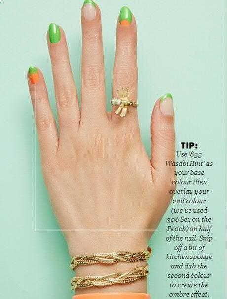 Nail Art With Green and Orange Nail Paint Shades