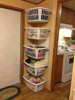 stacking laundry