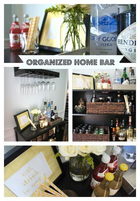 An Organized Home Bar Area