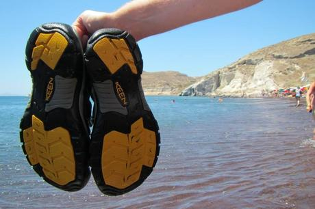 KEEN Sandals at Red Beach in Santorini