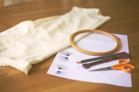 Make your own DIY embroidered top. You will need : thread, an embroidery hoop...