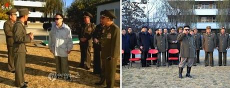 Late DPRK leader Kim Jong Il visits the equestrian company subordinate to KPA Unit #534 on 4 November 2008 (L) and Kim Jong Un visits the equestrian company on 19 November 2012 and renamed it the Mirim Riding Club (Photos: KCTV-Yonhap; KCNA).