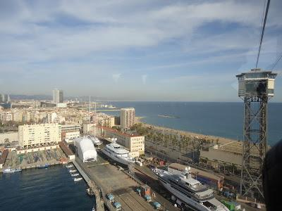View of Barceloneta beach from the aerial tram