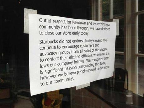 This sign was posted on the front door of Starbucks in Newtown, Conn. after the store closed early on Friday, August 9, 2013.  Many Second Amendment supporters carried their firearms into Starbucks on Starbucks Appreciation Day to exercise their right to bear arms and thank the company for allowing firearms in their stores, as allowed by state law.  However, the Newtown Action Alliance urged gun owners to hold off, saying it is insensitive to the community that is still recovering from the mass shooting at Sandy Hook Elementary School, just over a mile down the street. Photo: Contributed Photo / The News-Times Contributed