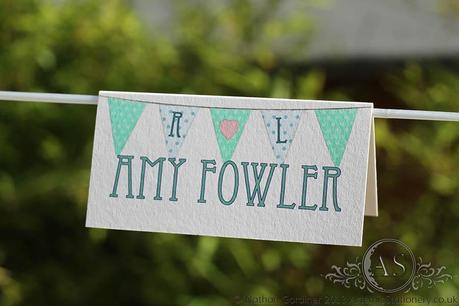 Bunting Wedding Place Name with polka dot flags
