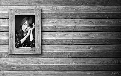 Photographyt Artwork by Ben Heine - Don't Forget Me with Chinese Model Zhuzhu - Girl Framed