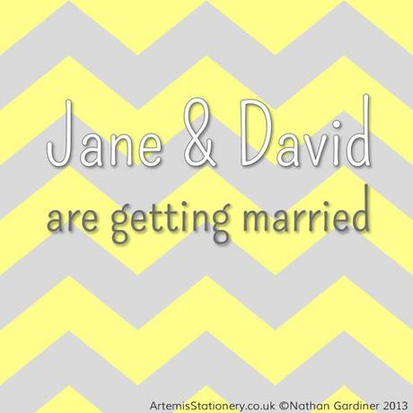 Chevron Wedding InvitationYellow Grey