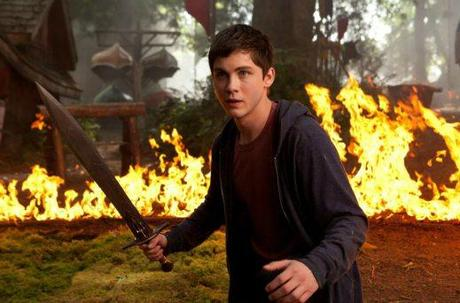 Percy Jackson fights a raging and fiery bull