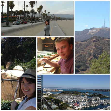 An evening stroll in Santa Barbara; Hollywood; our hotel view of San Diego Bay; a noble goat at San Diego Zoo; sushi at Nobu