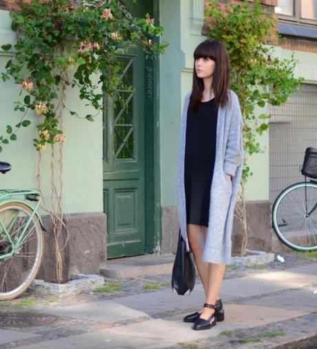 outfit black shirt dress acne long gray cardigan