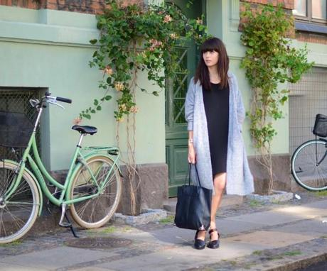 casual black and gray cardigan look