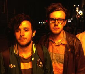 Ellis (left) & Rose walk the Edinburgh streets alone last night