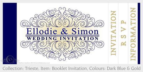 Trieste Wedding Booklet Invitation in Gold and Dark Blue