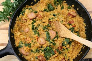 Lentil, Kale and Sausage One Pot Meal (Dairy, Gluten and Sugar Free)