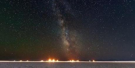 Bonneville Salt Flats Night Sky Panorama