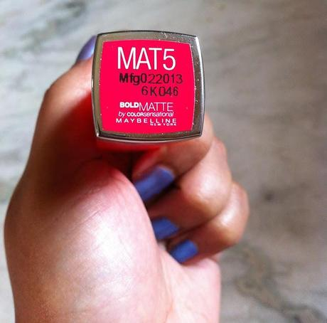 Maybelline Bold Matte Color Sensational  Lip Color in MAT5 - Review, Swatch