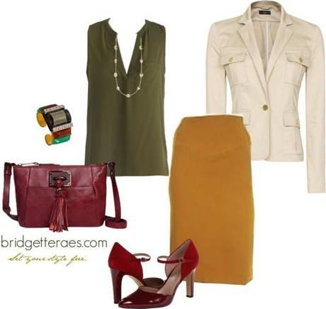 Camel Pencil Skirt Outfits