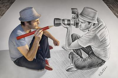 Ben Heine Self Portrait - Pencil Vs Camera 73 - Drawing Photography - 3D Art - 2013