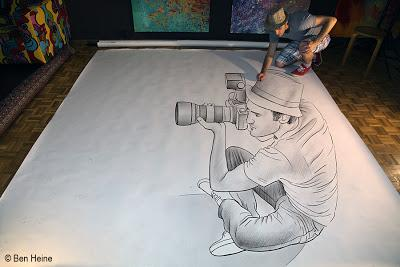 Ben Heine Self Portrait - Pencil Vs Camera 73 In Progress - Drawing Photography - 3D Art - 2013