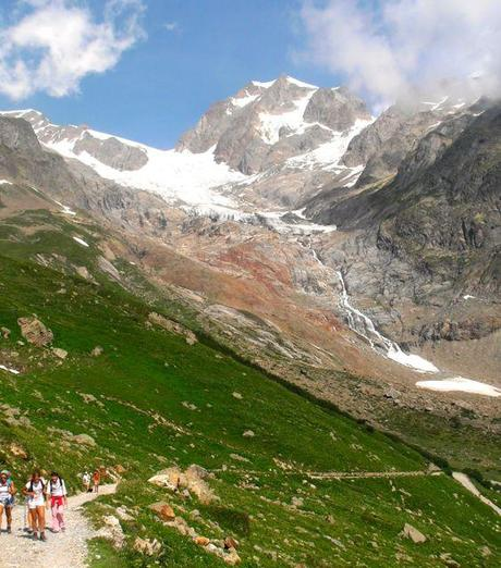 Hiking the Tour du Mont Blanc (TMB).  Trail in Italy.