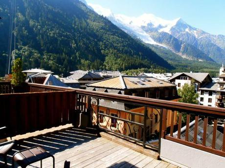 View of Mont Blanc from our room at Boutique Hôtel Le Morgane in Chamonix.