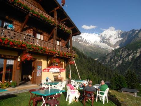 Relaxing at Fioux Refuge and enjoying the views of Mont Blanc.